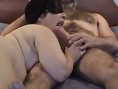 Masked chubby mature wife gives nice engulfing and licking  to her hairy hubby\'s big dick - short but sweet