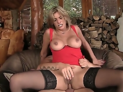 Blonde MILF receives her ass pounded by a huge cock and later gives him a unfathomable throat blowjob