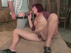 Sexy aged chick enjoys giving guy blowjob and groans as her hairy love tunnel is group-fucked hard