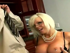 Golden-haired Jordan Jolie with massive melons and clean beaver finds her mouth filled with Sergios throbbing fuck stick