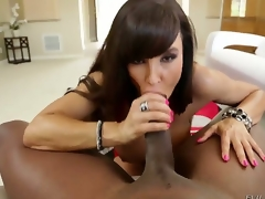 Lexington Steele is a fucking legend and so is Lisa Ann. We receive to see them in action together as Lisa gobbles on that heavy schlong and as that babe impales her milf pussy on that ginormous cock.