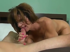 This perverted MILF with heavy juggs likes being drilled lengthy and hard. After her bawdy cleft is tamed that babe gives her paramour a pleasuring orall-service making him cum a massive load.