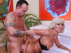 Mature smoking hot blonde cougar Tara Holiday with firm hooters and skinny hot body in underware and high heels seduces stylish randy dude Kurt Lockwood and receives nailed by piano.