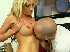 Turned on experienced seductive blond milf Sindy Lange with massive breathtaking hooters and tight gazoo in arousing lingerie gets her fascinating fur pie liked by younger horny attractive chap