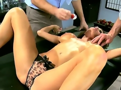2 slutty and truly aroused dudes Jordan Ash and Manuel Ferrara get their hands on a grogeous brunette milf in blue dress Veronica Avluv and strip her, revealing her large love bubbles