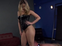 Marvelous and actually sexy dominant blonde Alexis Texas with outstanding shaped body and hot large butt makes her thrall boy Jeremy Conway crawl and lick her heels on the floor