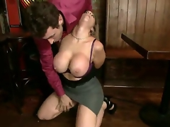 Taskmaster turned on famous pornstar James Deen gets his stiff pecker sucked by lusty experienced milf Sara Jay with biggest stunning hooters in steaming sexy coarse blow job session
