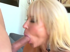 Provocative cock hungry experienced aged golden-haired doxy Erica Lauren with large mambos and amazing oral-service skills gets turned on and enjoys gratifying youthful muscled chap with inflexible cock
