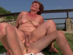 Naked older fattie Manyika has unthinkable sex with youthful chap in the outdoors. She licks dudes chocolate aperture and then this chab sticks his schlong in her many times used fuck hole. Watch her receive hardcored in the sun