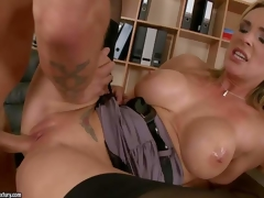 Consummate boobed milf Tanya Tate bares her cans and gives blowjob to hot dude before she acquires naked. Then pleasant MILF in dark nylons acquires her constricted bald slit pumped full of cock