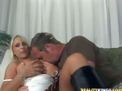 Hunky and horny lad with a fetish for older women seduces one indeed hot and arousing breasty blond milf and gets her to his apartment for a hot cock riding session on the couch