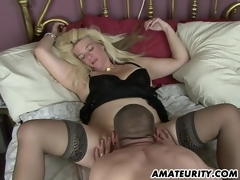 Naughty dilettante Milf homemade act with creampie