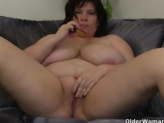 Fat mammas with large tits having solo sex