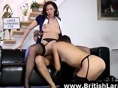 Wild threesome for aged British lady in high heels