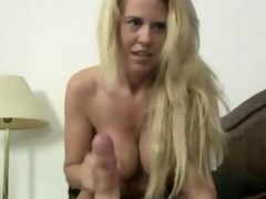 Blonde Milf wanking his 10-Pounder in pov