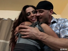 Ariella Ferrera teases a younger dude by showing tits and fingering wet crack