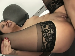 Lying on her back, that babe widens her pantyhosed legs relishing his dick unfathomable in her cunt