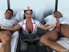 The hot brunette nurse is there to check on the patients and to satisfy her needs