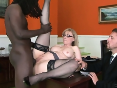 Large dark male is doing something incredible with the fur pie of nice milf