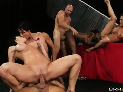 Breasty strumpets get their nice a-hole bodies pounded by two fortunate guys