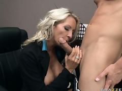 Busty blond secretary is eager to please the bosses big boner