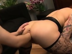 The morose tattooed hottie with large tits and a fabulous ass acquires their way vagina fisted unfathomable