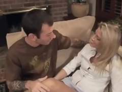 Fair-haired milf Chelsea Zinn gets facialed after jumping on a flannel