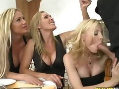 Three pretty milfy blondes Tyler Faith. Holly Sampson and Tanya Tate are very curious about waiter Vooddoo and his large cock. They pull out his sausage and turn dinner into CFNM orgy! They blow. wank and ride his large shlong with passion!